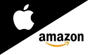 Loghi di apple e amazon visto che nell'articolo sui microchip le maggiori aziende coinvolte sono loro due