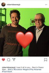 Uno scatto di Robert Downey Jr insieme a Stan Lee
