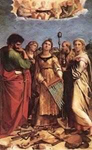 L'Estasi di Santa Cecilia; Raffaello Sanzio; 1514. Santa protettrice della musica